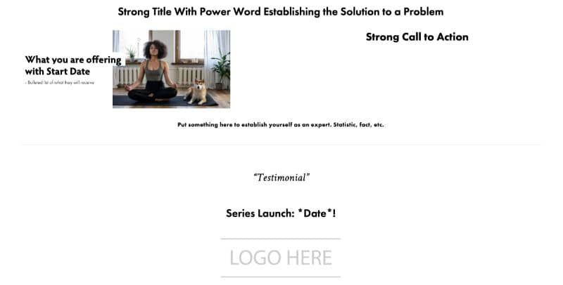 High conversion rate yoga studio landing page example