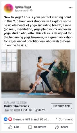 yoga ad example yoga yoga studio facebook ads and yoga advertisement