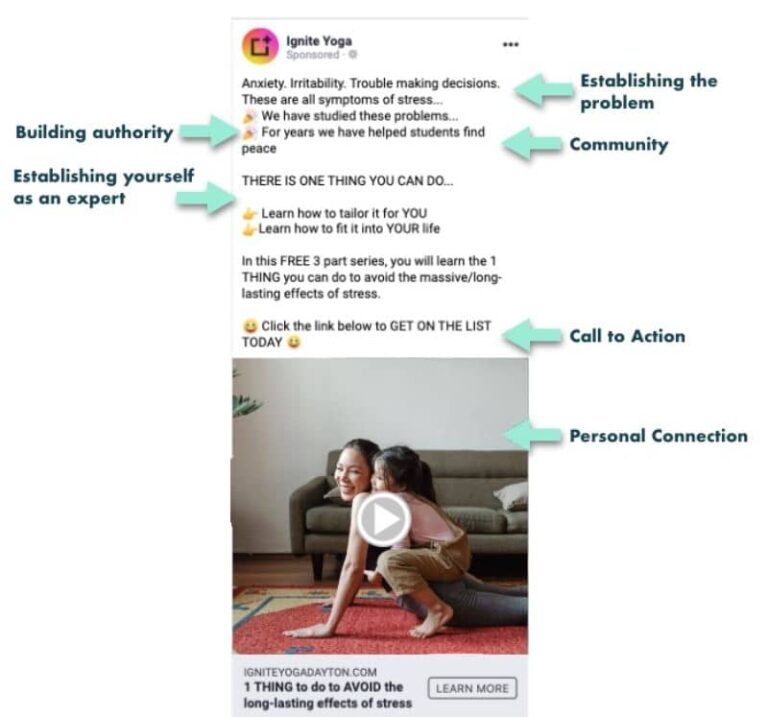 Yoga Studio Facebook ad with high conversion rate